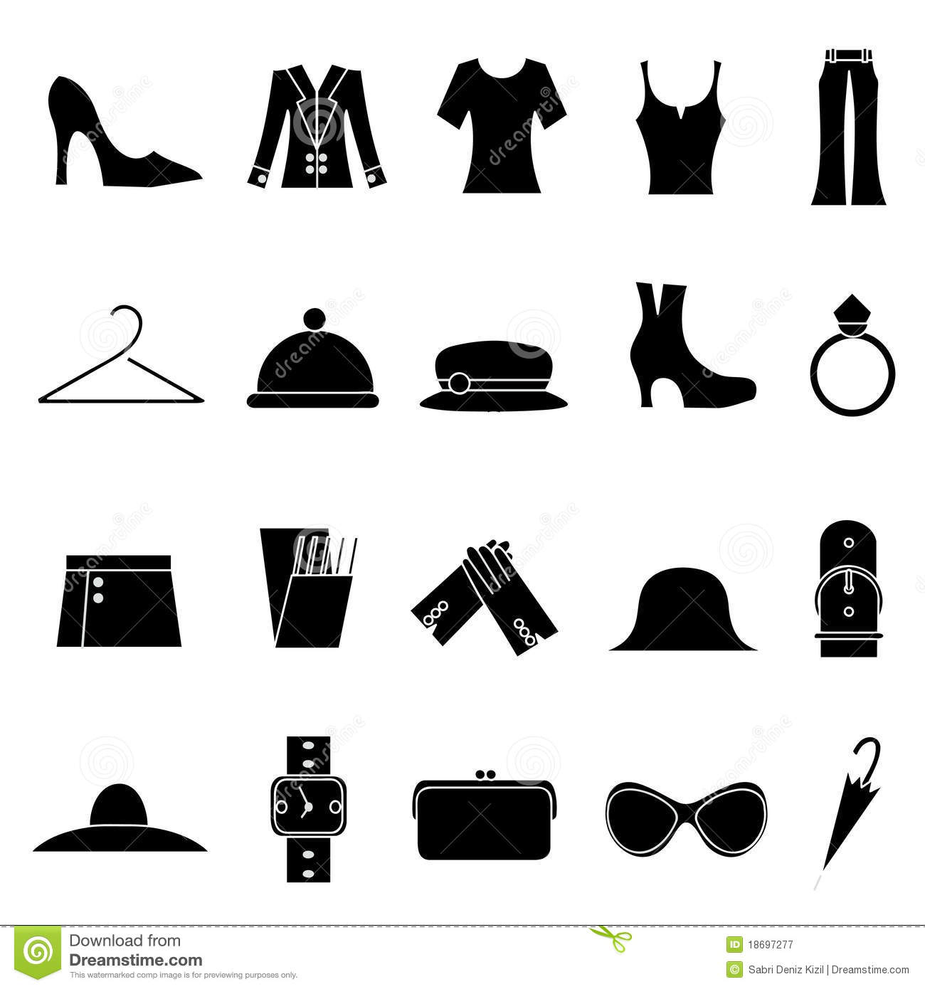 Woman Fashion And Clothes Icons Stock Vector Illustration Of Design Pants 18697277