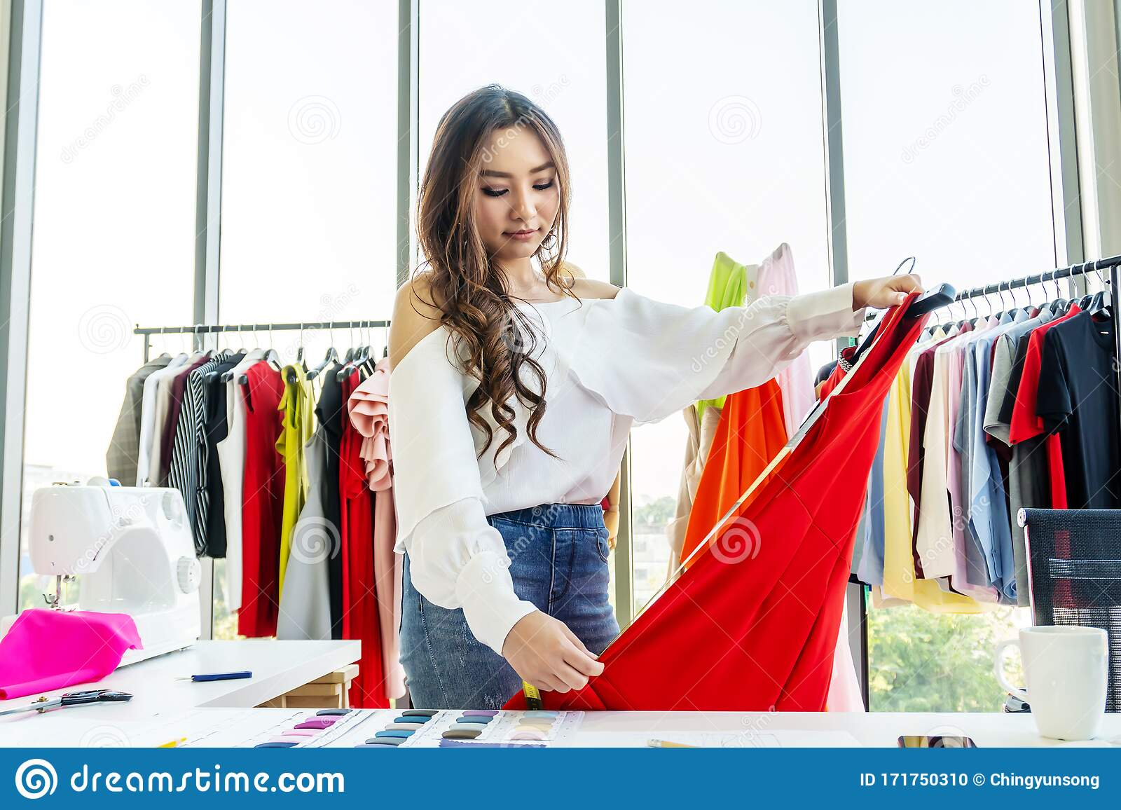 Woman Fashion Designer Using Tape For Measuring Mannequin Creating Pret A Porter Collection In Showroom Concentrated Owner Of Stock Photo Image Of Clothing Fabric 171750310
