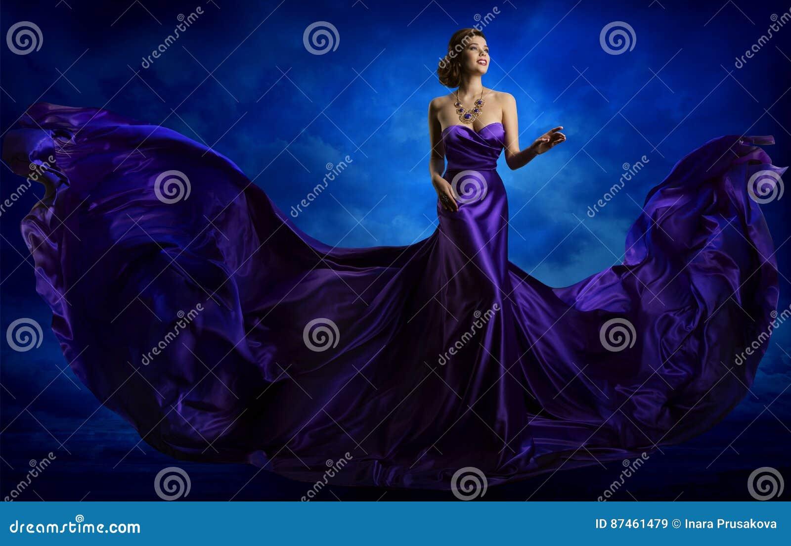 Woman Fashion Dress, Blue Art Gown Flying Waving Silk Fabric