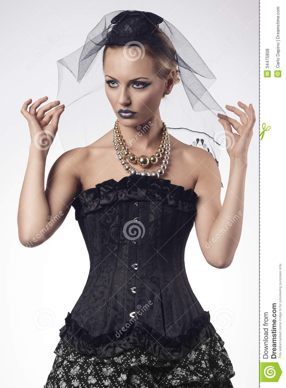 woman with fashion gothic style stock photo image 34475808