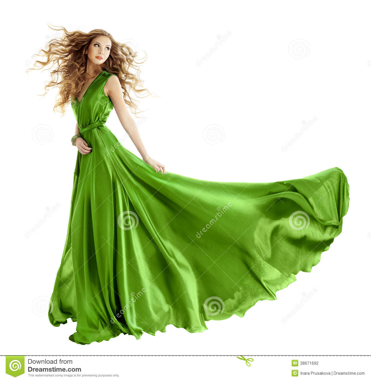 White Girl Fashion: Woman Fashion Green Gown, Long Evening Dress Stock Photo