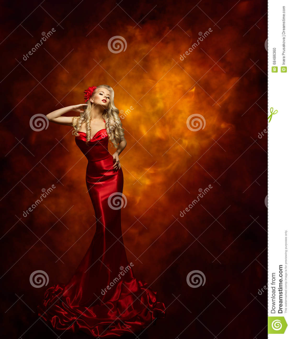Woman Fashion Model Red Dress, Beauty Girl Posing, Glamour Gown