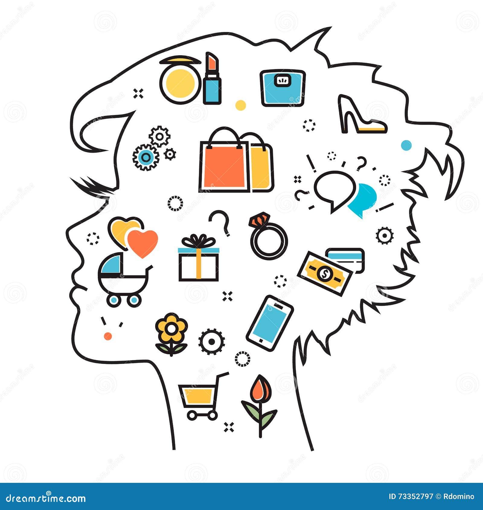 Woman Favorite Interests Dream Into Head Process Vector