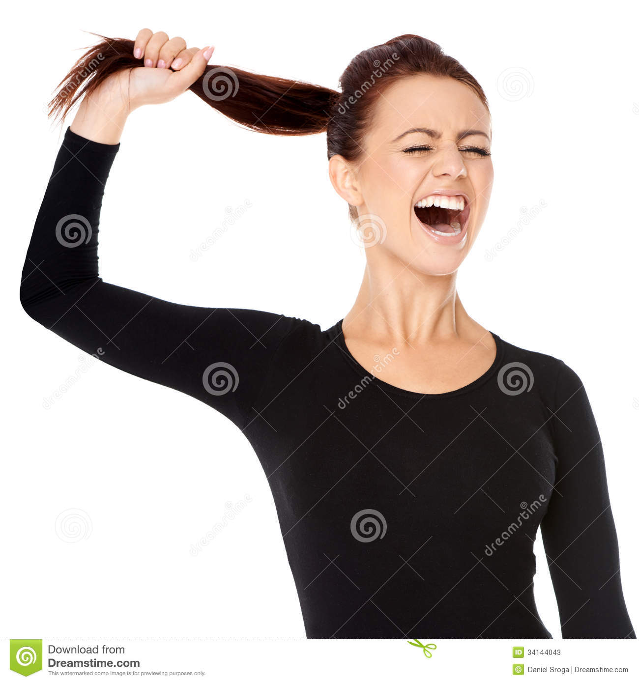 Woman Fed Up With Long Hair Screaming Stock Photos Image
