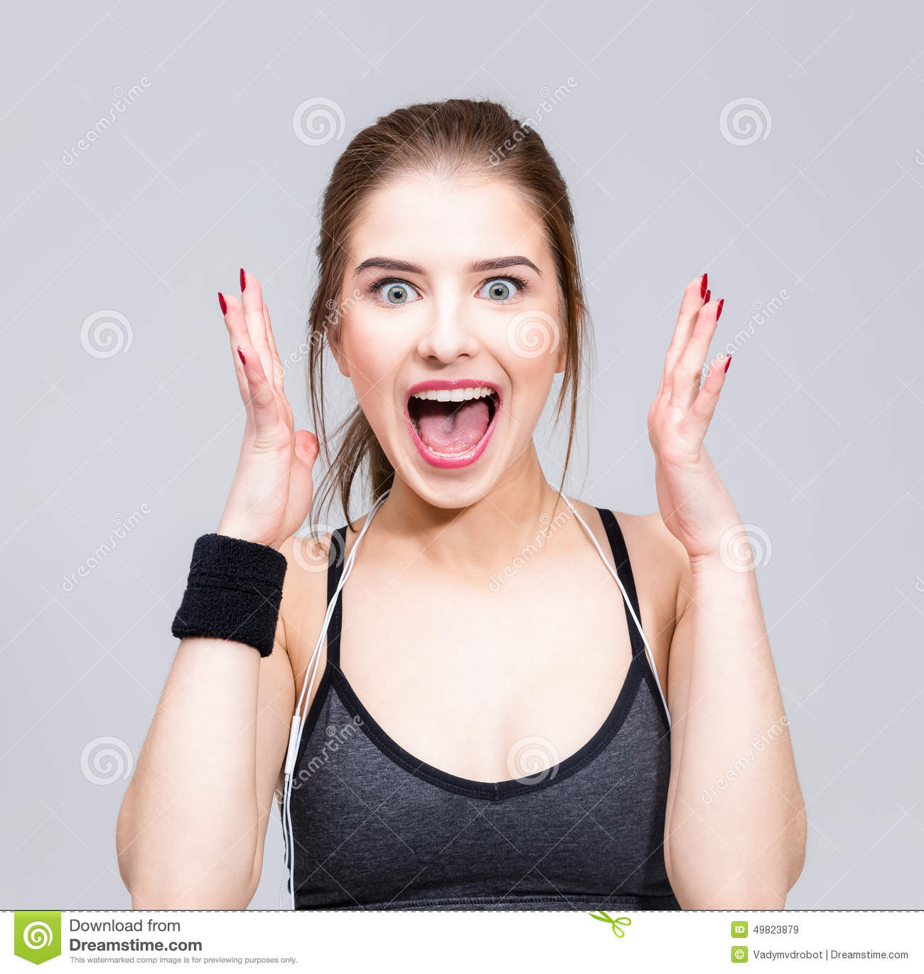 Woman Feel Surprised Facial Expression Stock Photo - Image ...