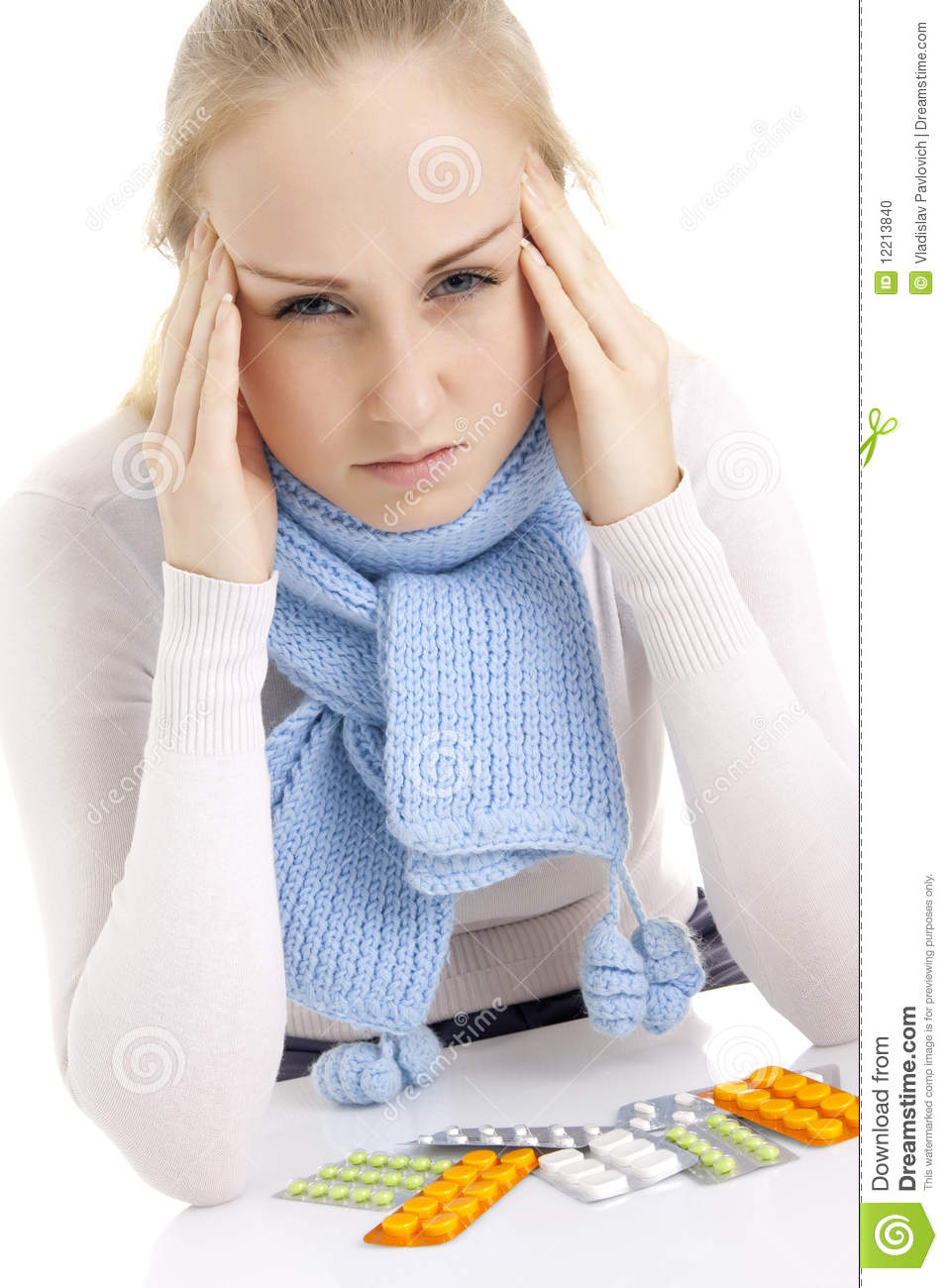 Woman feeling sick isolated over white background