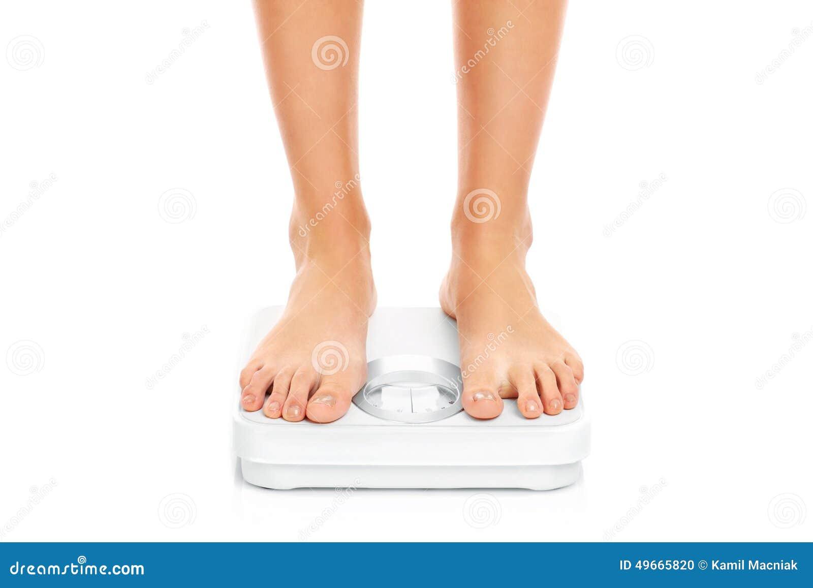Woman Feet On Bathroom Scales Stock Photo