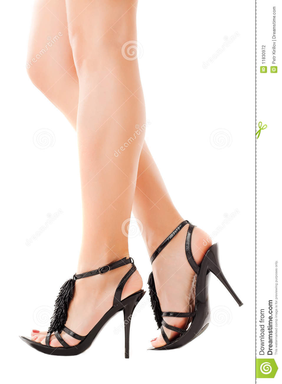 woman feet in black shoes stock photography