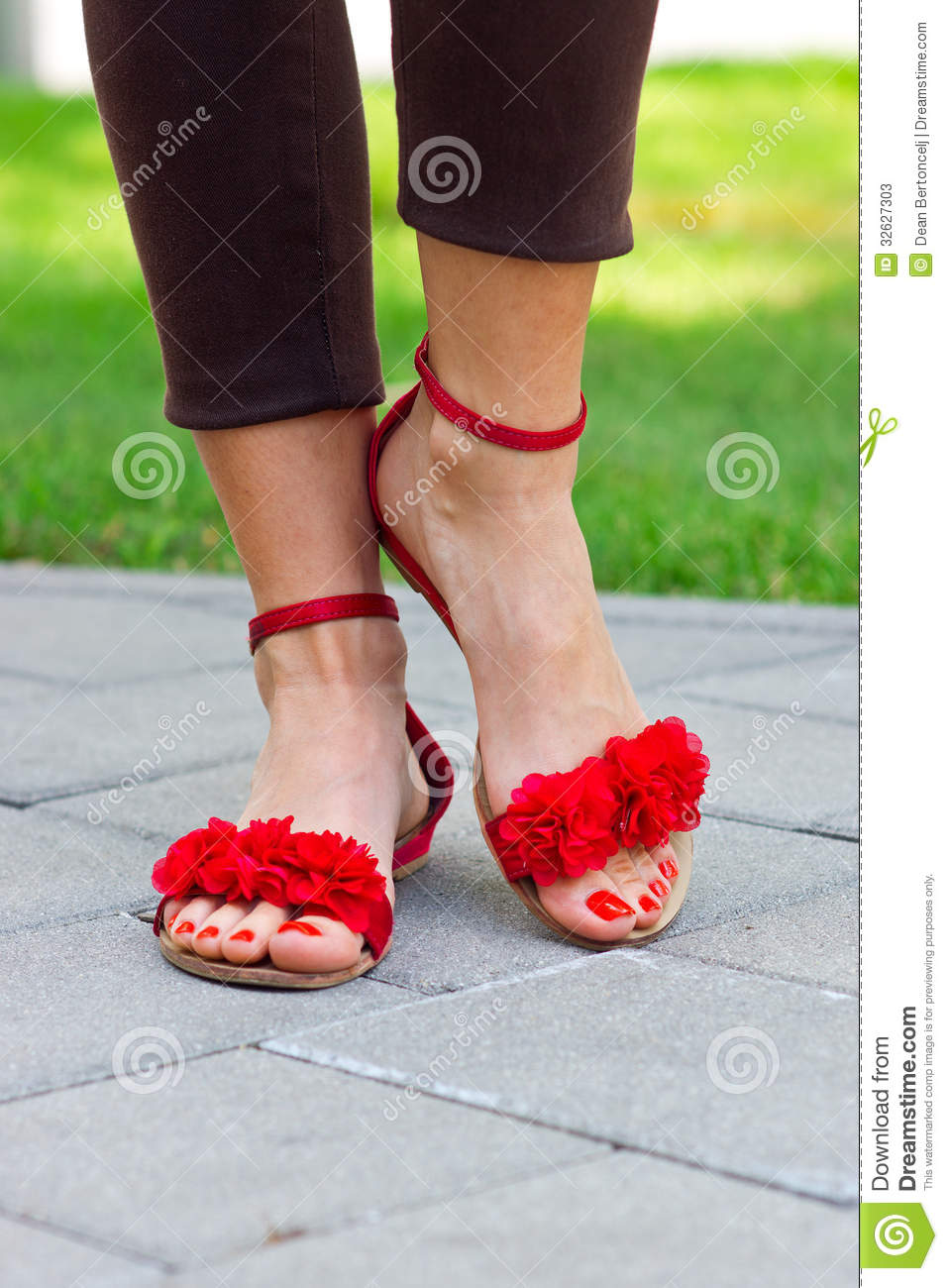 Fantastic  Feet Wearing Summer Sandals And Standing On Old Asphalt Road Woman