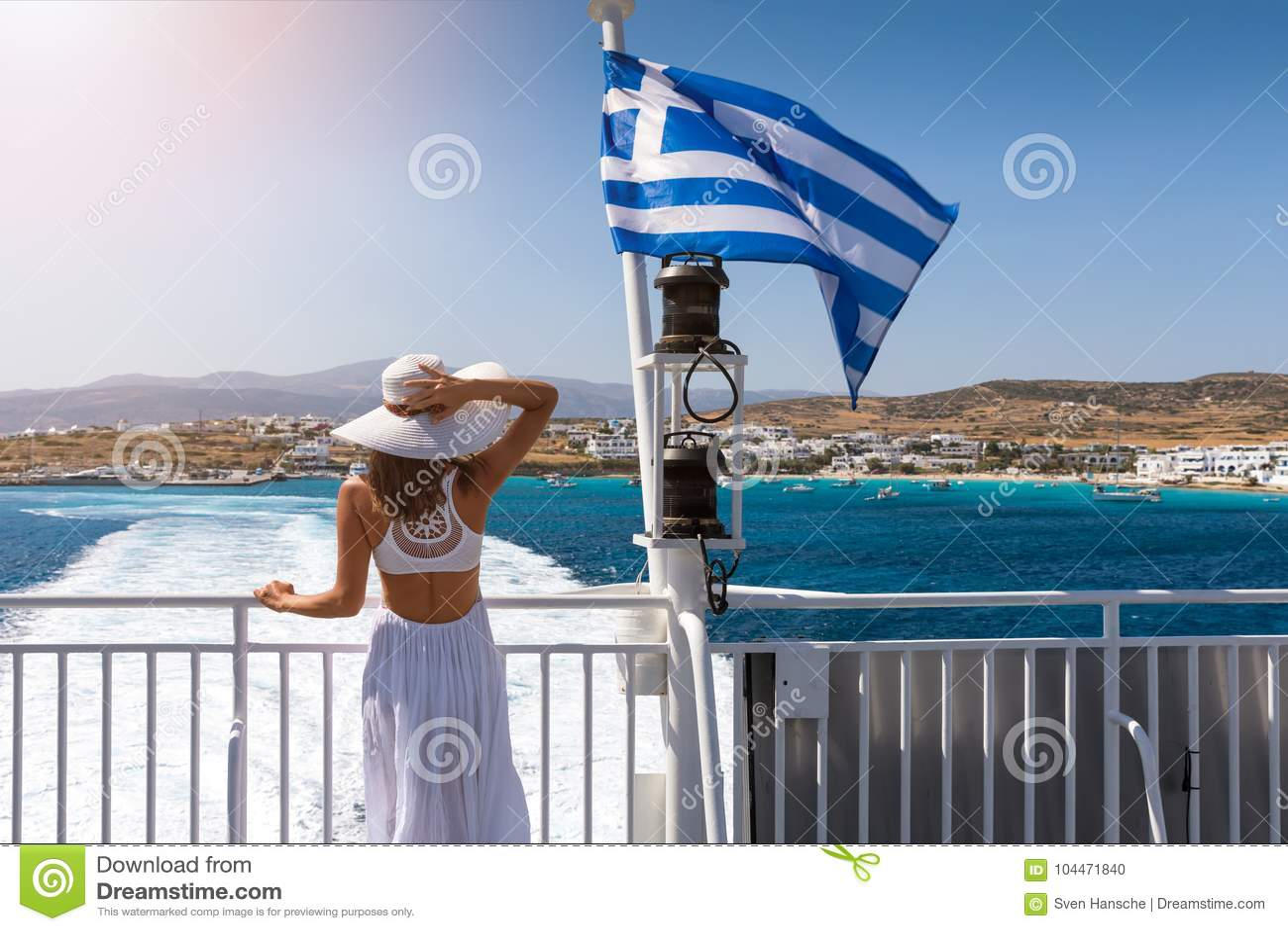 Woman on a ferry boat in the aegean sea, Greece