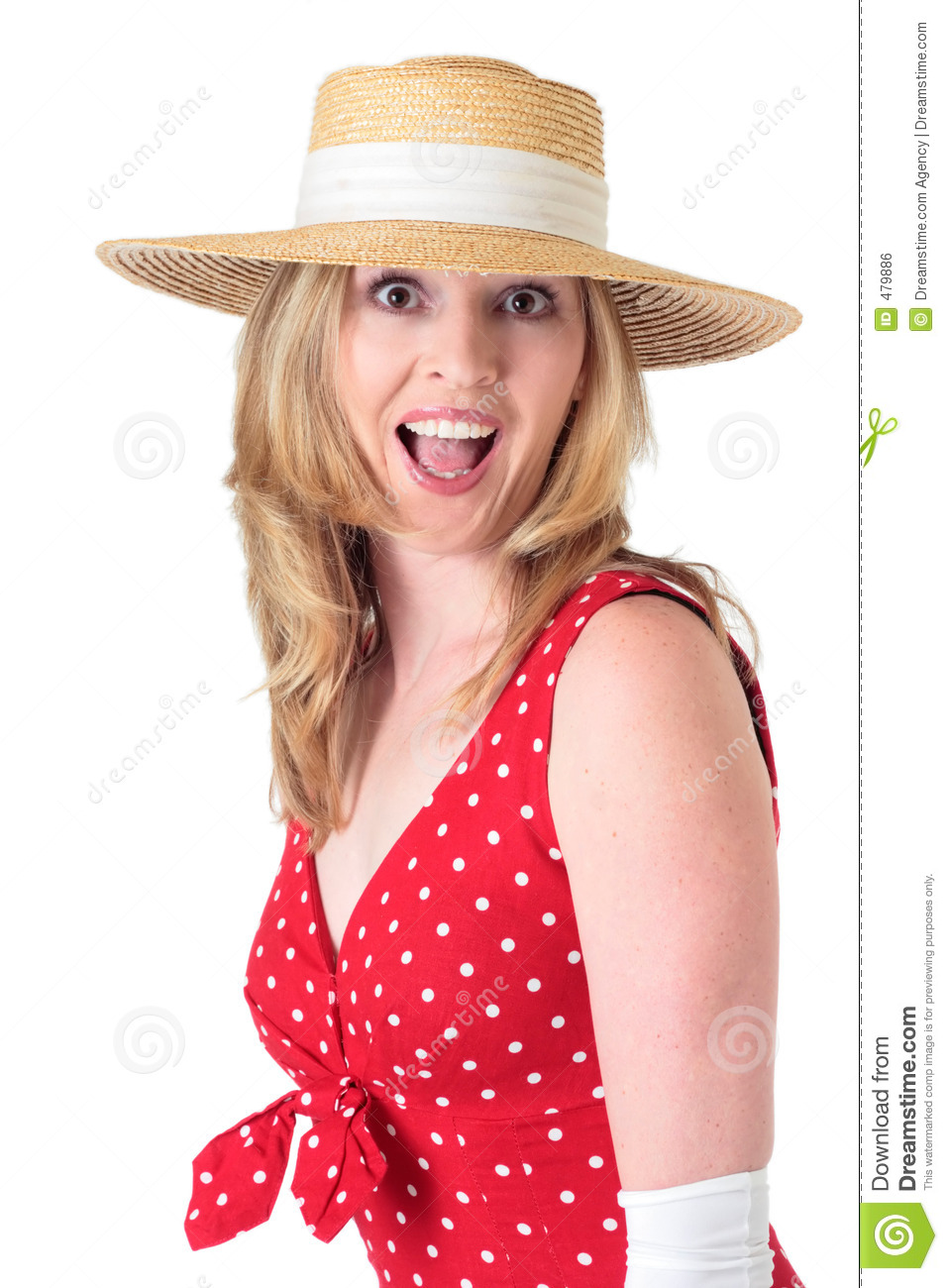 Woman in fifties fashion with surprised expression