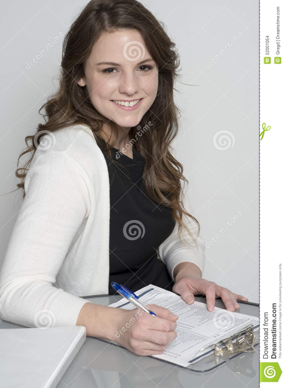 woman filling out form stock photo. image of american - 52001054