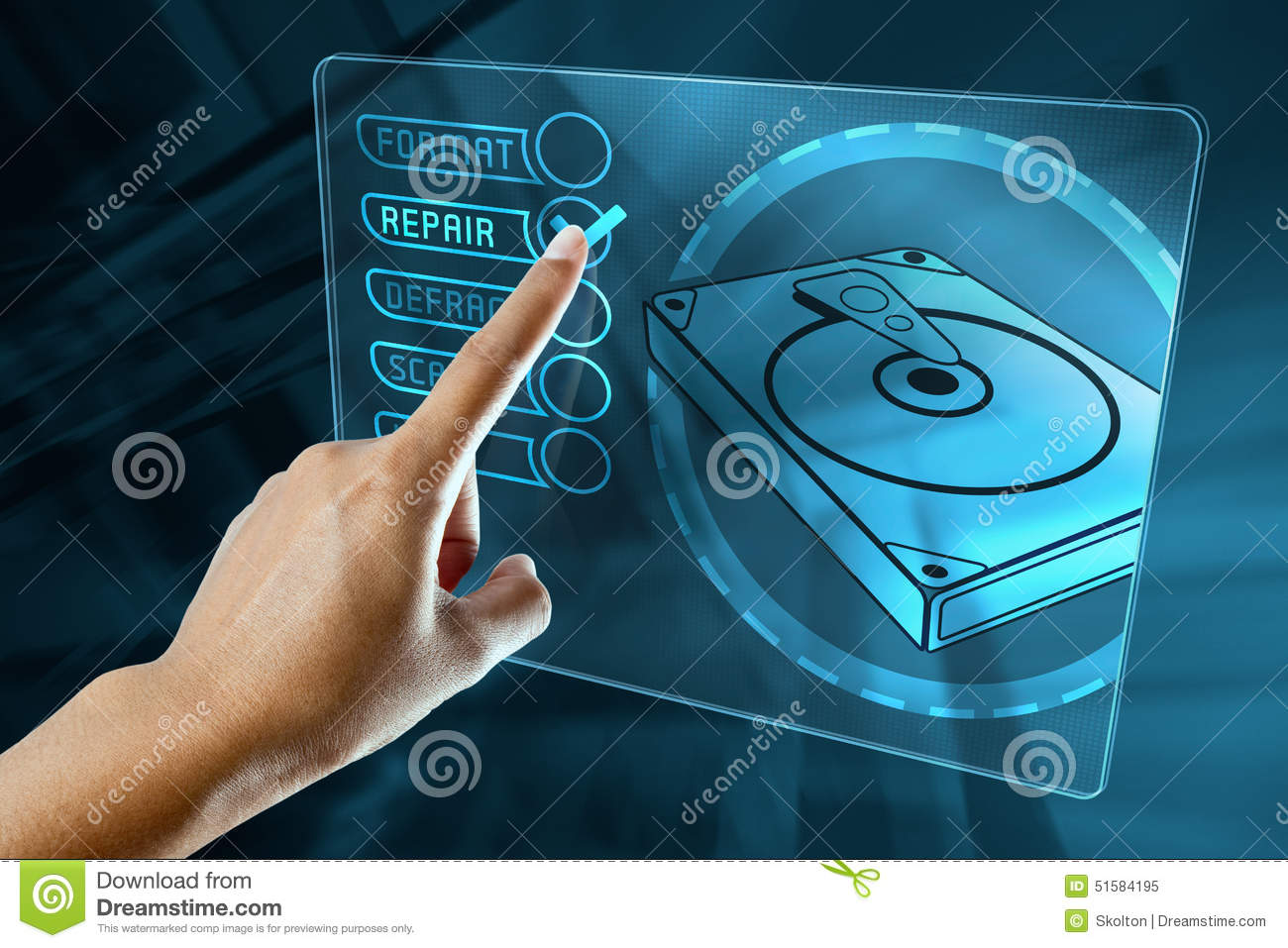A woman finger choice the option to repair a hard disk