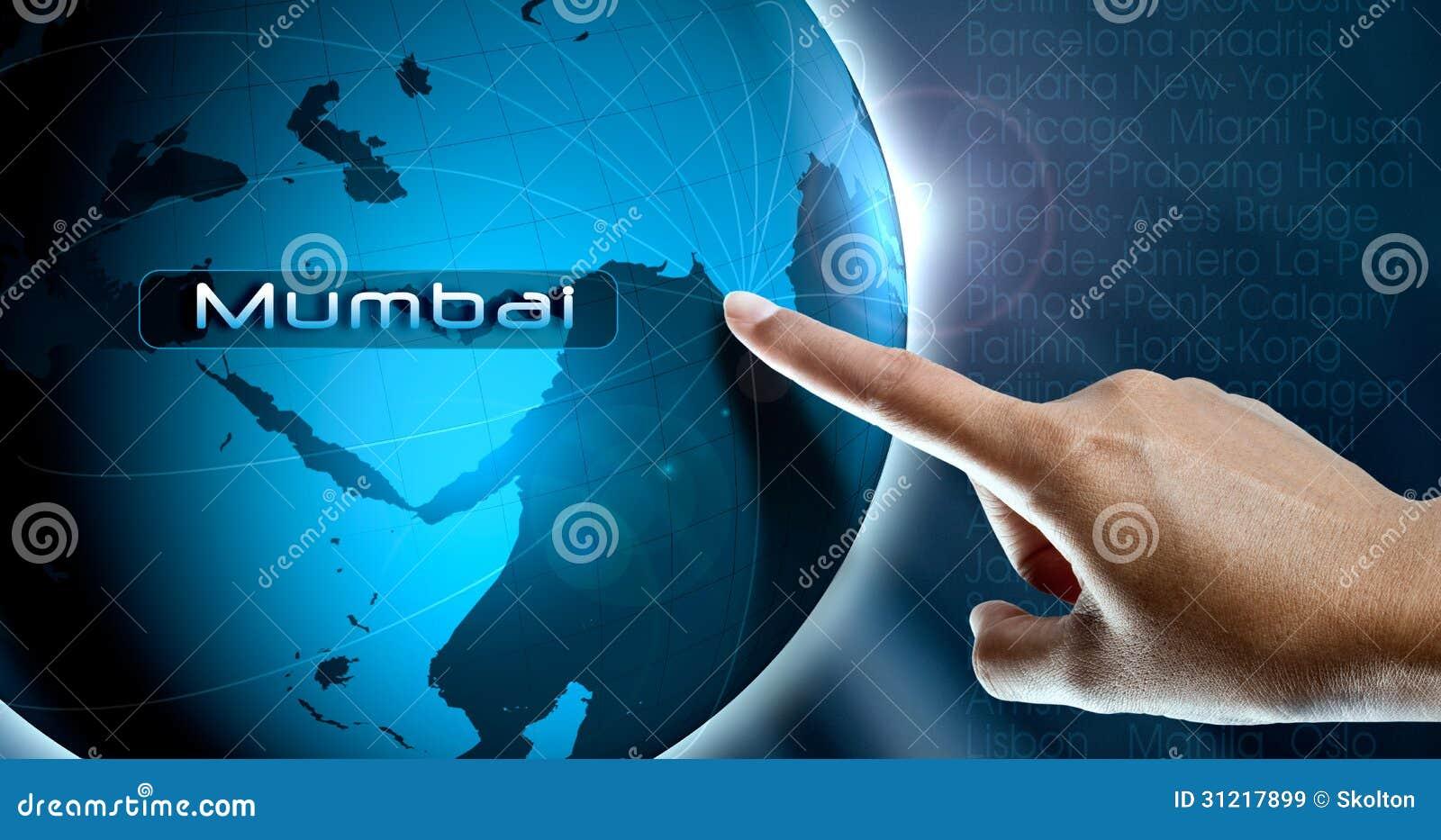 a woman finger and globe mumbai stock image image of ecology e rh dreamstime com