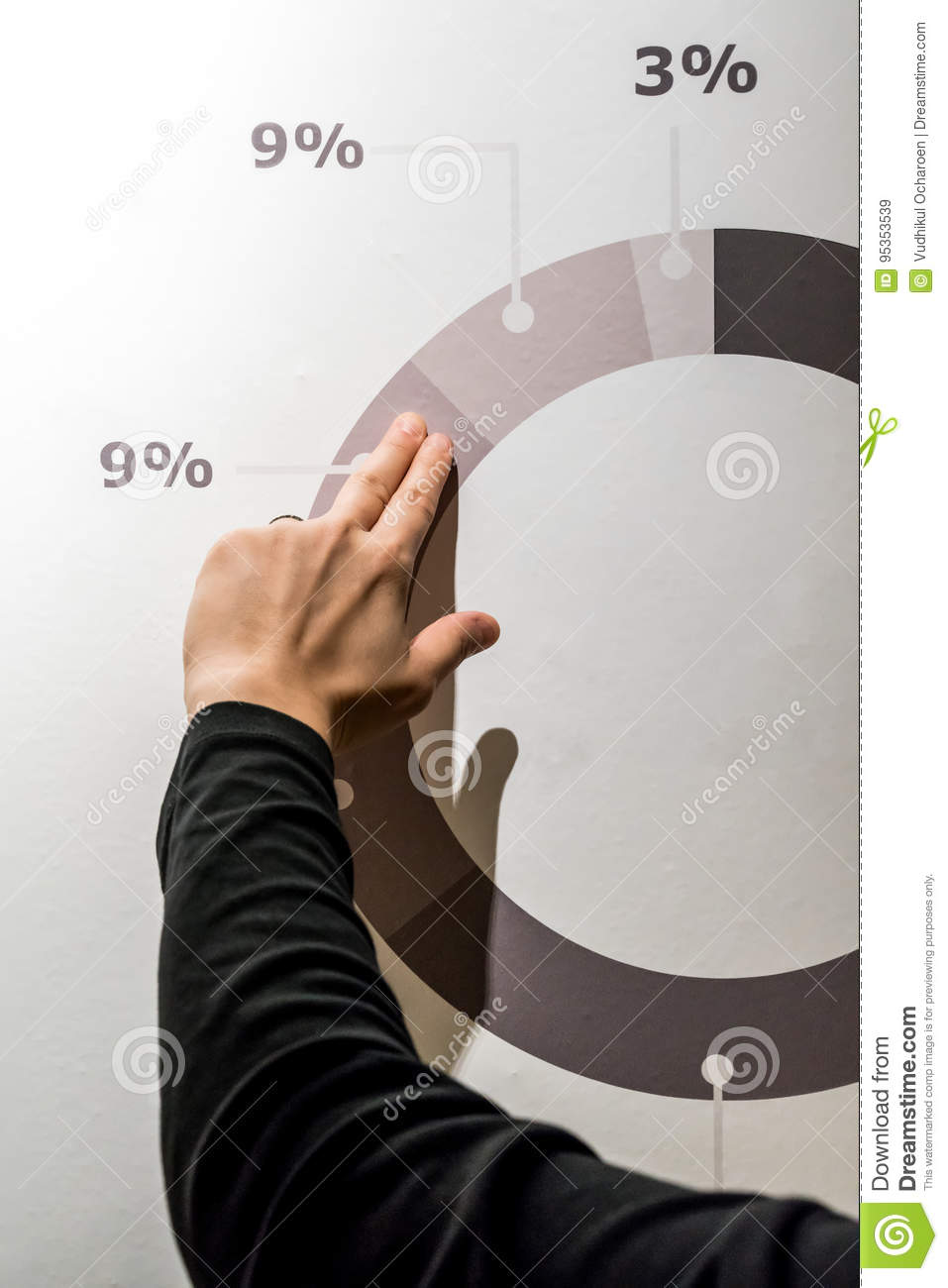 woman fingers pointing graphic diagram on digital wall stock image rh dreamstime com