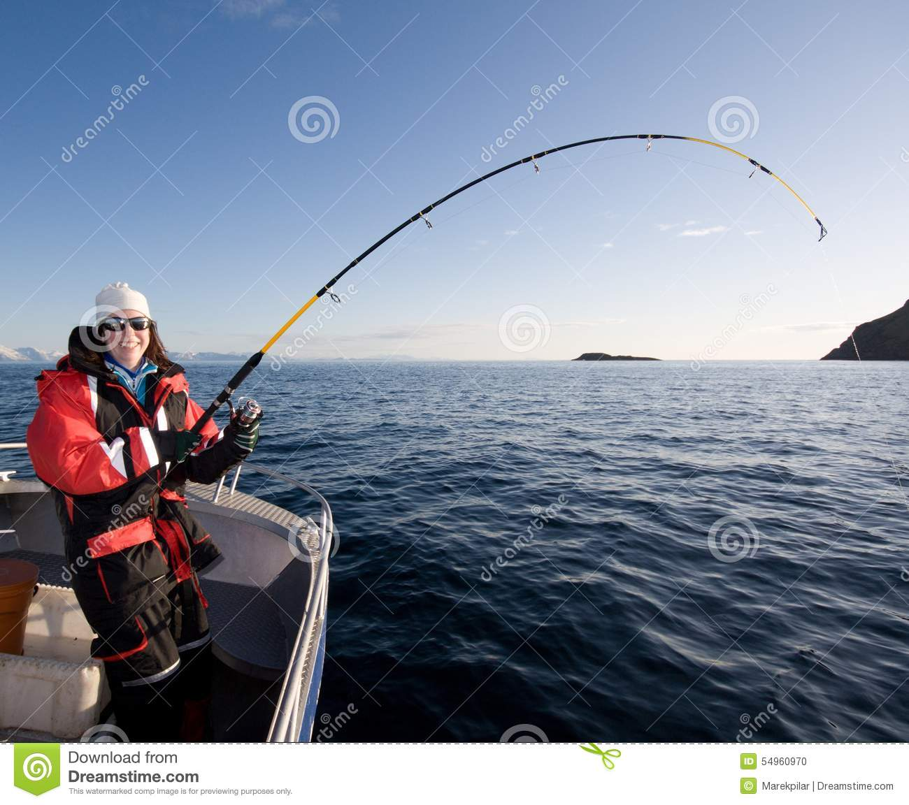 Woman fishing stock photo image of catching boat for Women who fish