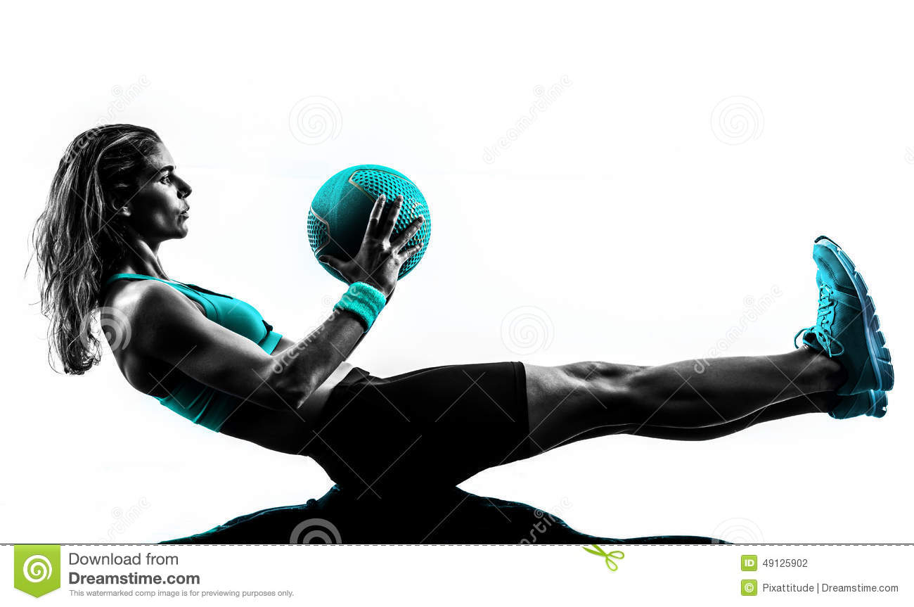 Woman Fitness Medicine Ball Exercises Silhouette Stock Photo - Image: 49125902