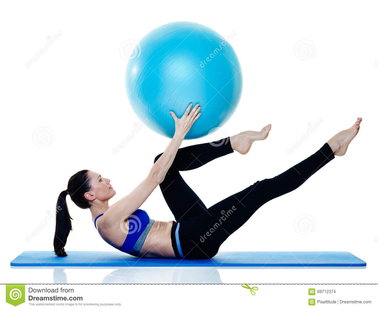 woman fitness pilates exercices isolated stock photo image of isolated ball 69712374. Black Bedroom Furniture Sets. Home Design Ideas