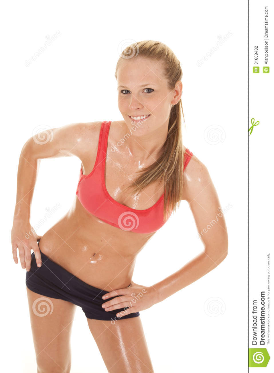 Woman Fitness Red Sports Bra Sweat Lean Stock Photo ...