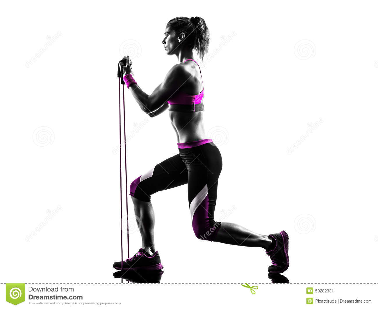 One caucasian woman exercising fitness resistance bands in studio ...