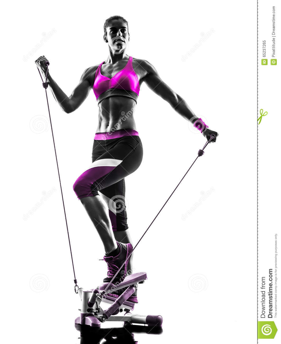 Woman fitness stepper silhouette