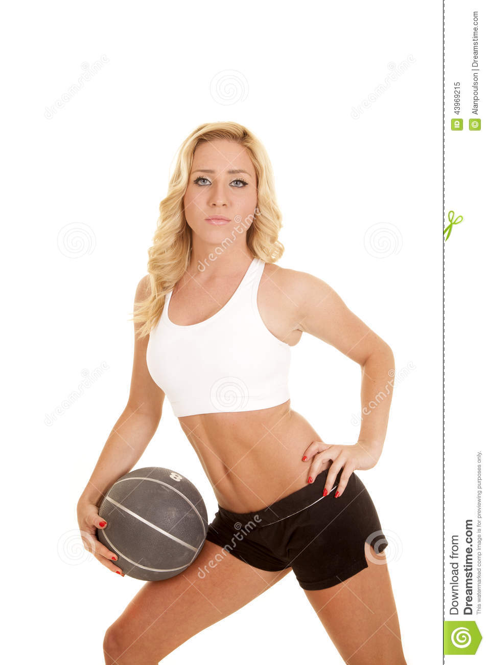 1f2972a5367be Woman Fitness White Sports Bra Ball On Leg Stock Image - Image of ...