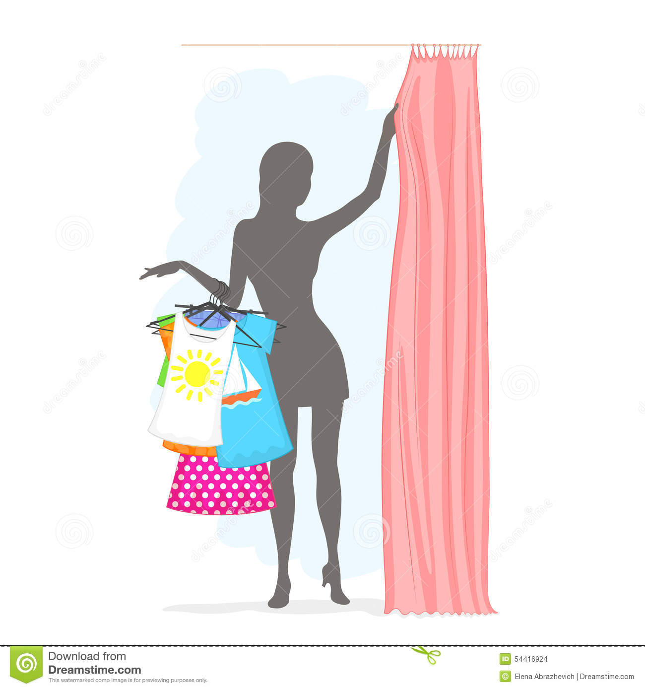 Woman In Fitting Room Slender Is Holding Many Clothes On Hangers And Pulling The