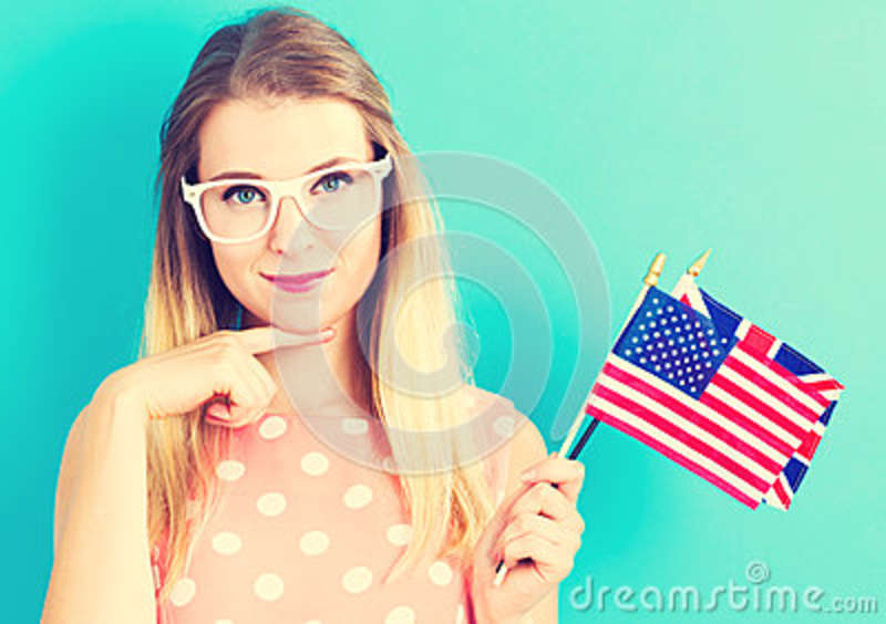 b16f75297acf Woman With Flags Of English Speaking Countries Stock Image - Image ...