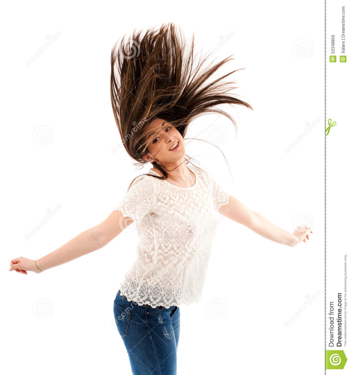 When a woman flips her hair
