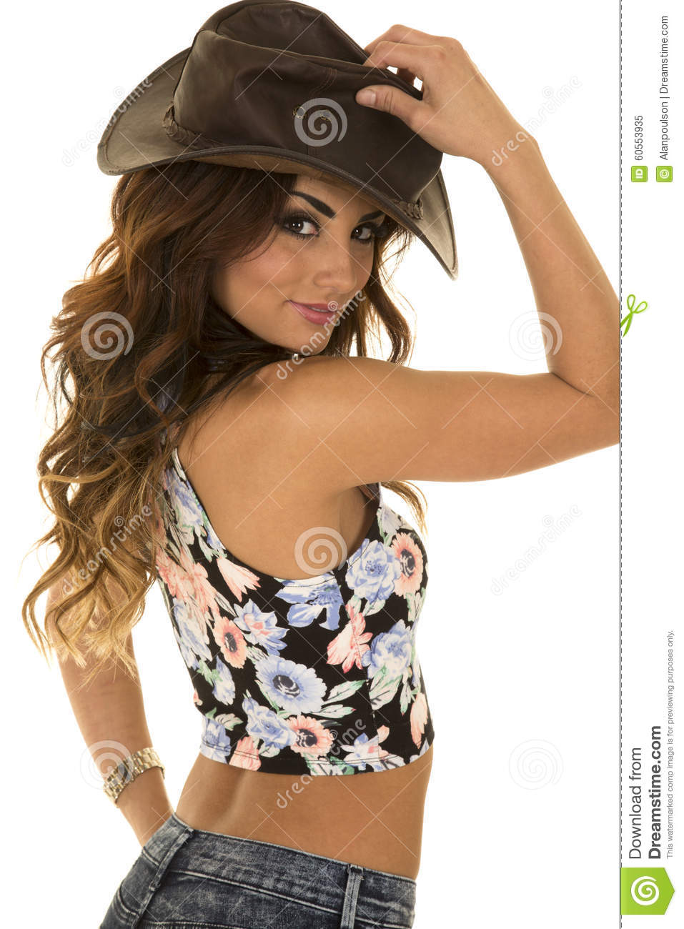 aed735edfee Woman In Floral Shirt Cowgirl Back Close Stock Image - Image of ...