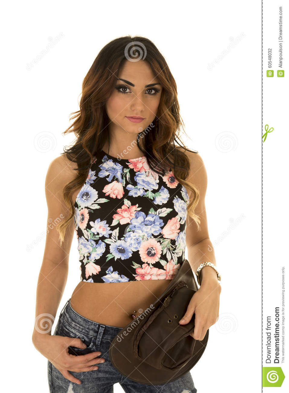 011fa3fbf20 Woman In Floral Shirt Cowgirl Hat By Waist Stock Photo - Image of ...