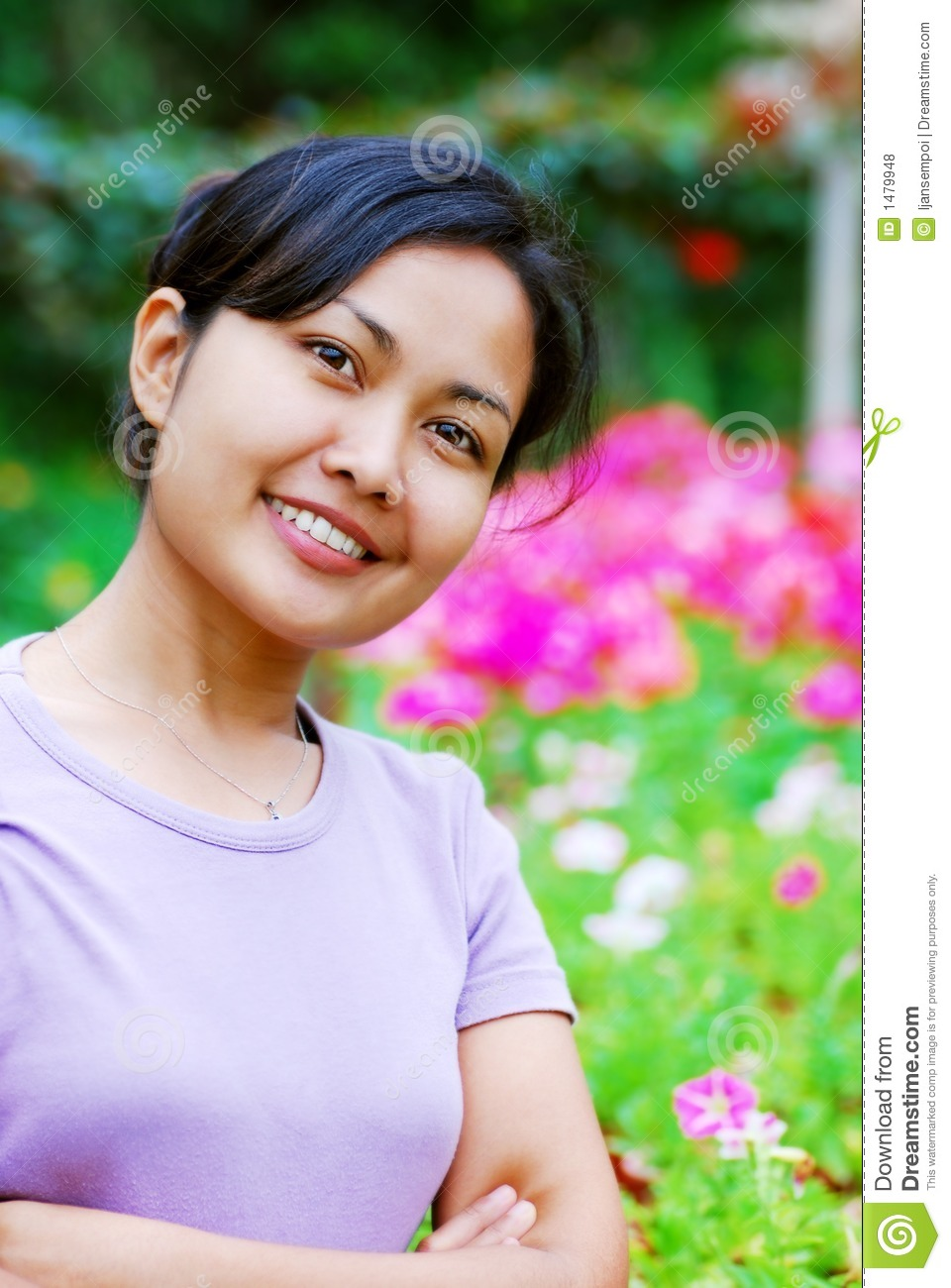 Woman at the flower garden