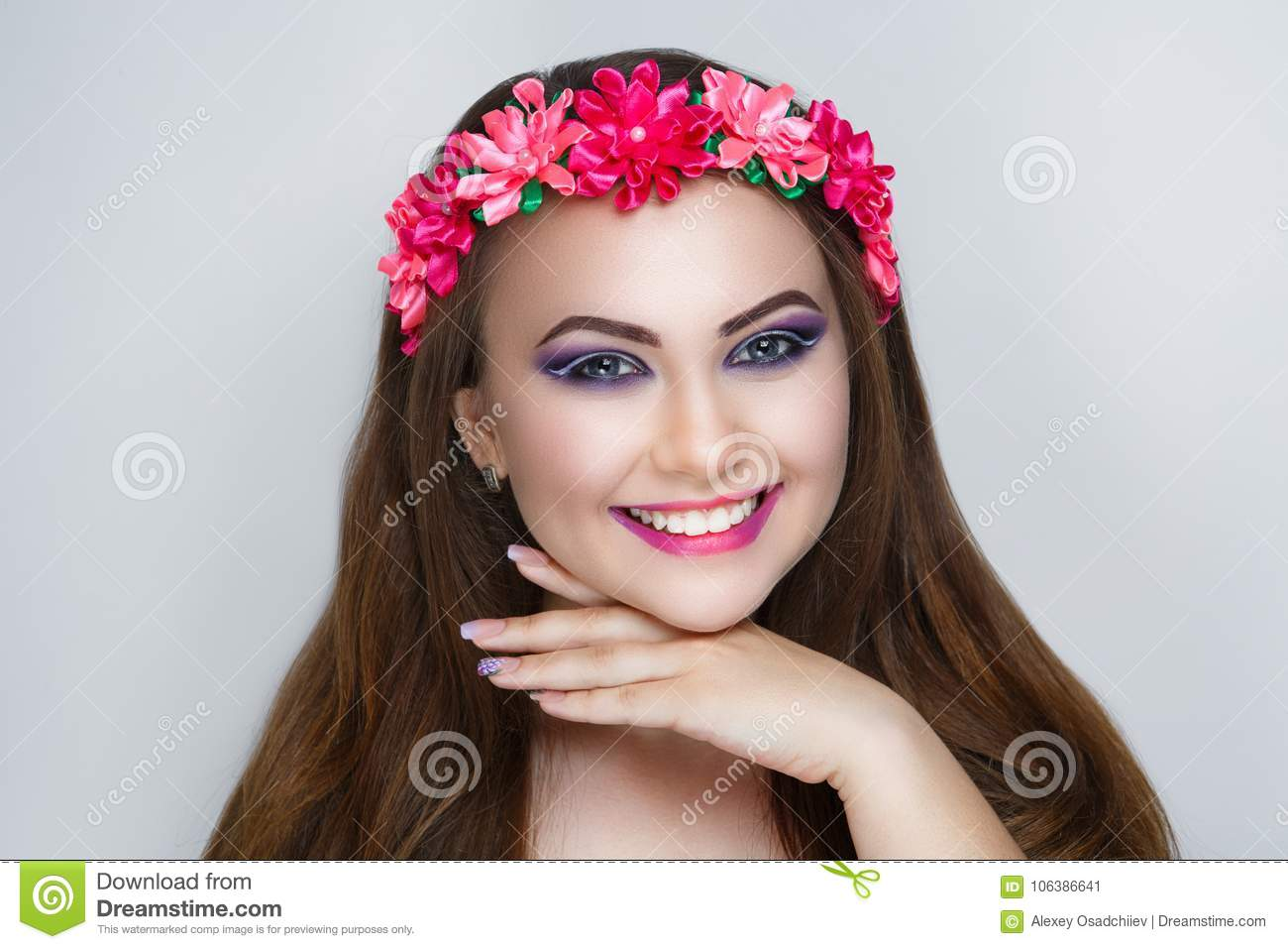 Woman Flower Wreath Stock Image Image Of Makeup Crown 106386641