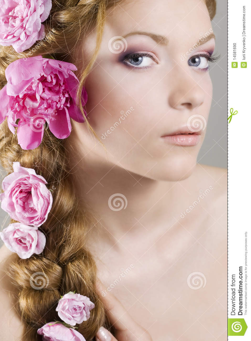 Woman With Flowers In Hair Stock Photo Image 14581690