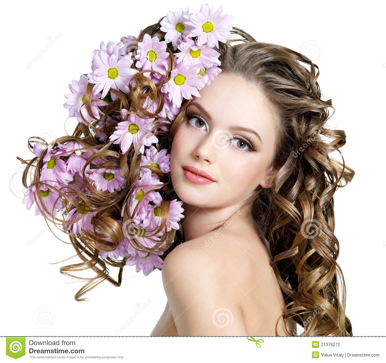 Woman With Flowers In Hairs Stock Photo - Image of hair ...