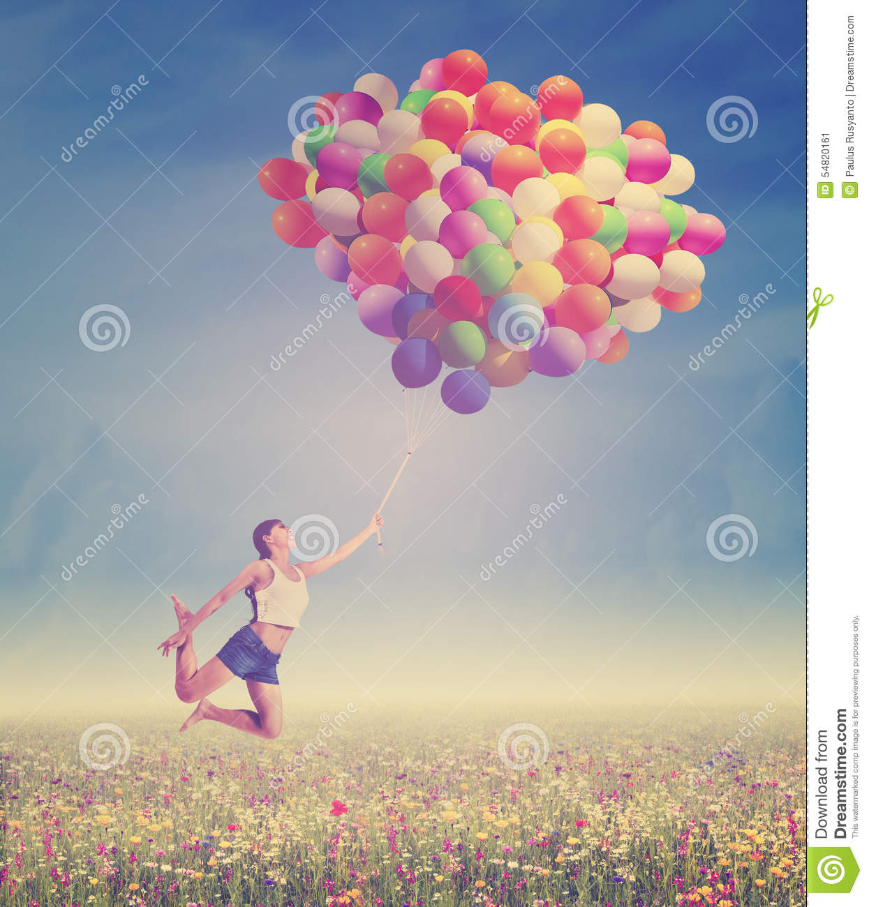 Woman flying with balloons in nature stock photo image for Cheerful nature