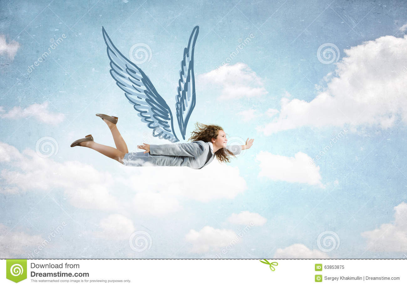 Woman Flying High Stock Photo - Image: 63853875