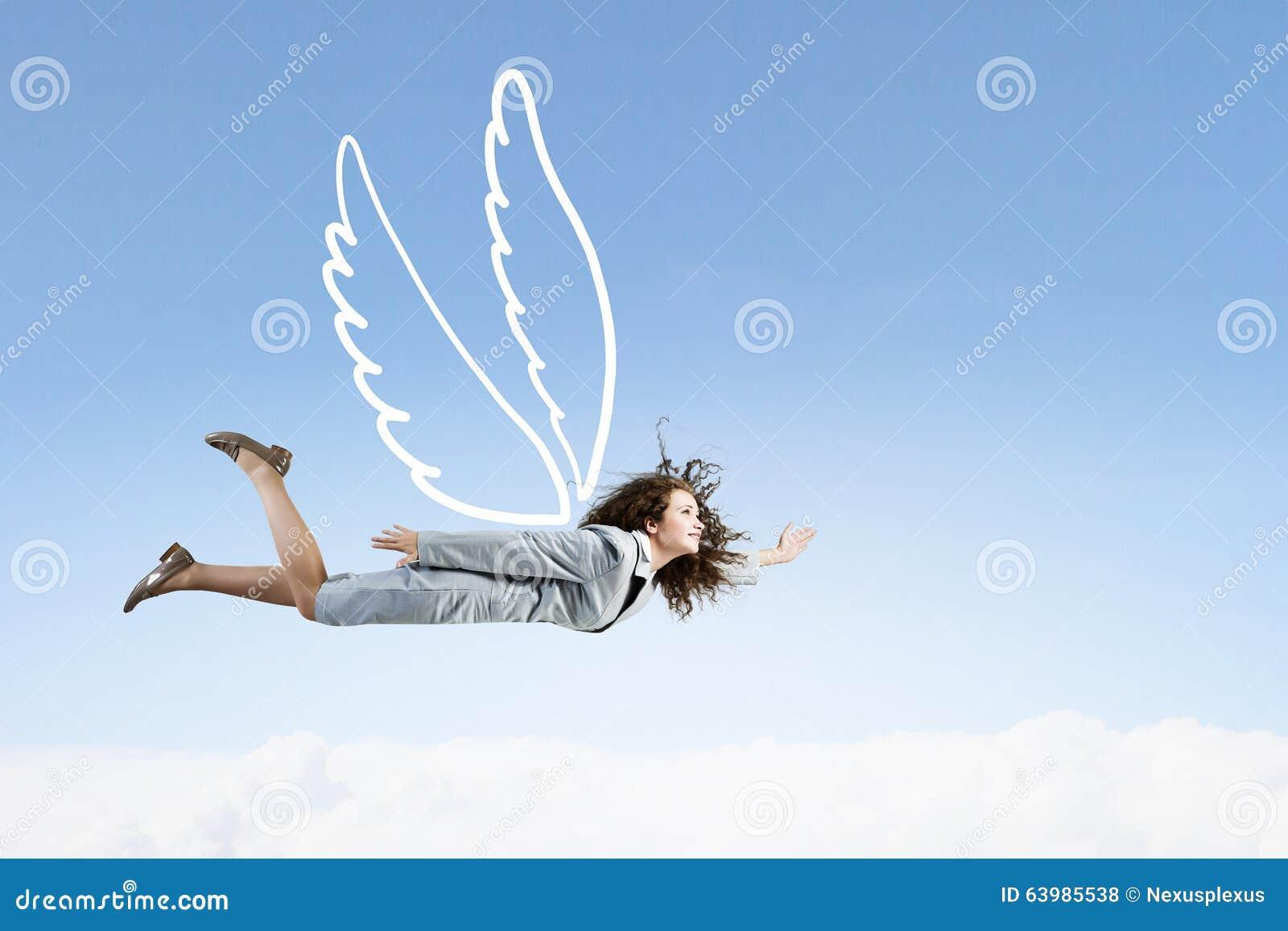 Woman Flying High Stock Photo. Image Of Girl ...