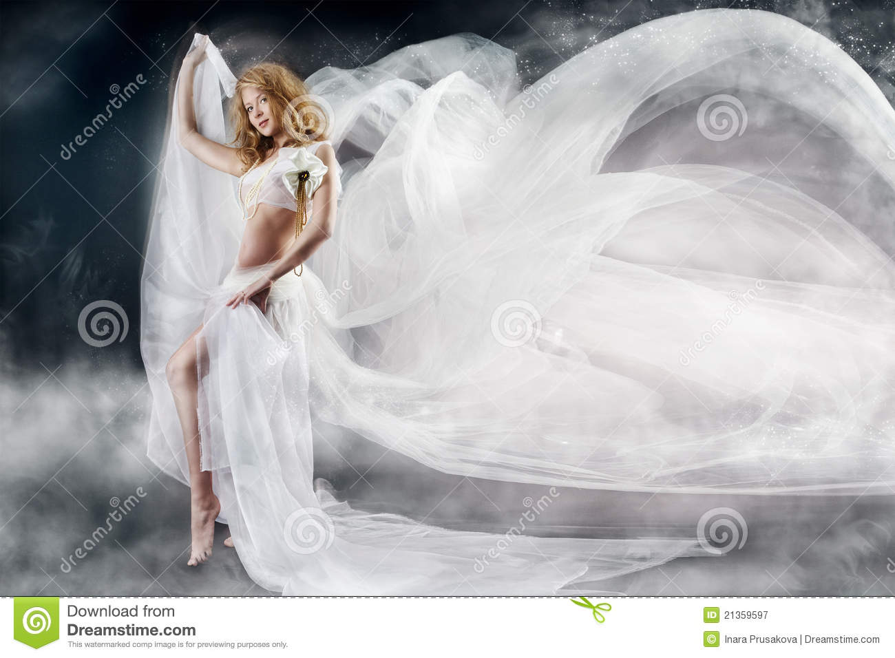 Woman with flying white fabric