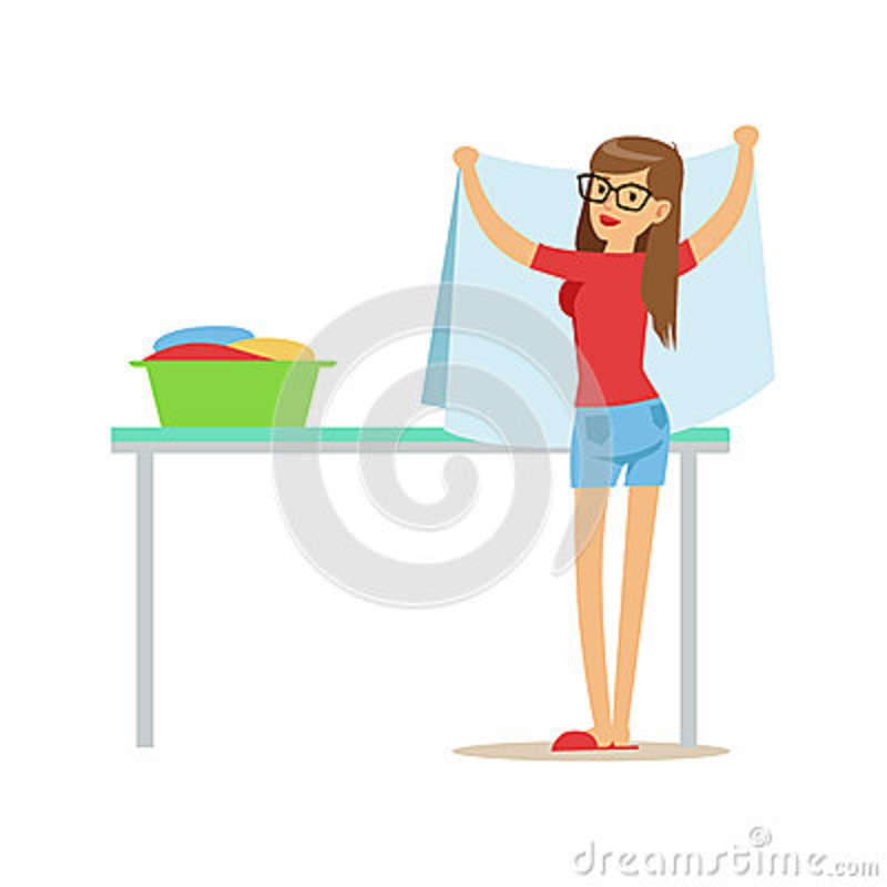 Woman Folding Clean Laundry, Part Of People Using Automatic Self-Service Laundromat Washing Machines Of Vector