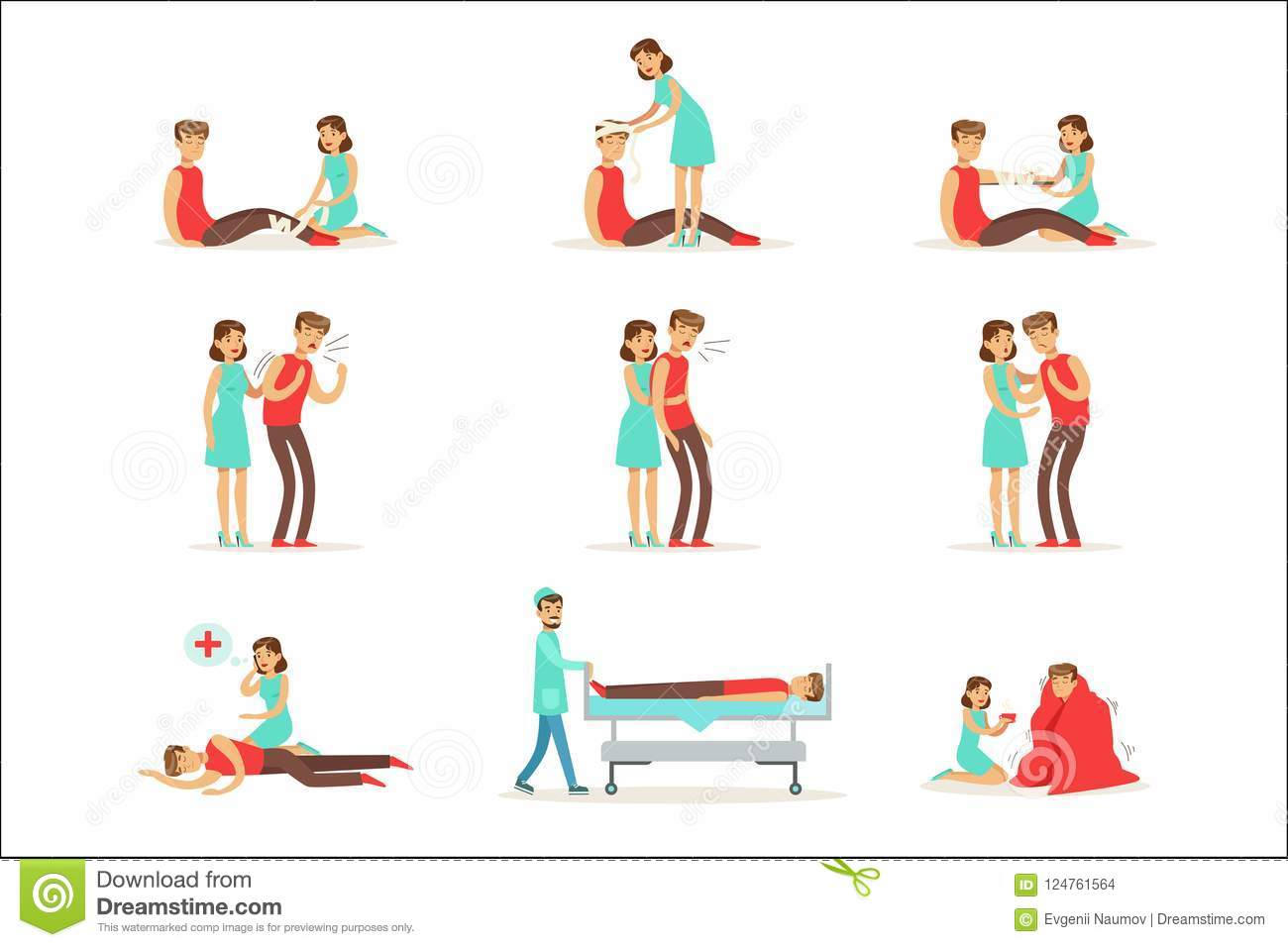 Woman Following Firs Aid Primary And Secondary Emergency Treatment Procedures Collection Of Infographic Illustrations