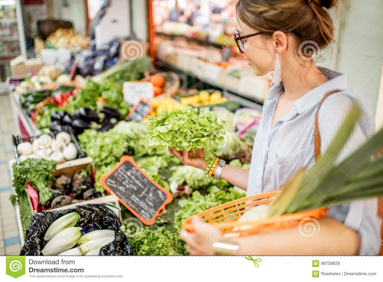 Woman at the food market