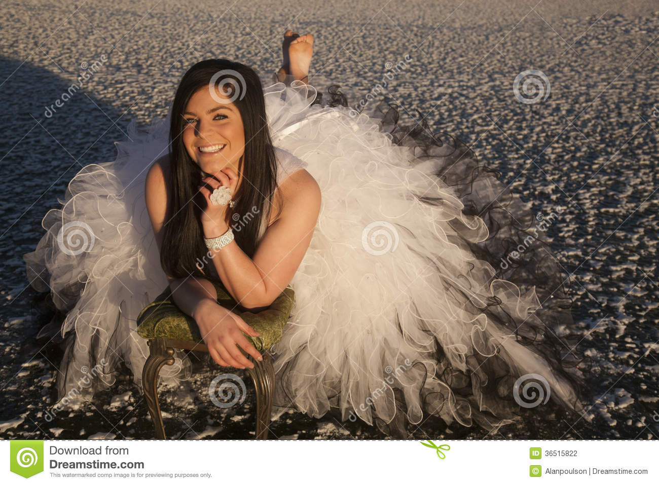 Woman Formal Dress Ice Barefoot Lay Smile Stock Photography Image 36515822