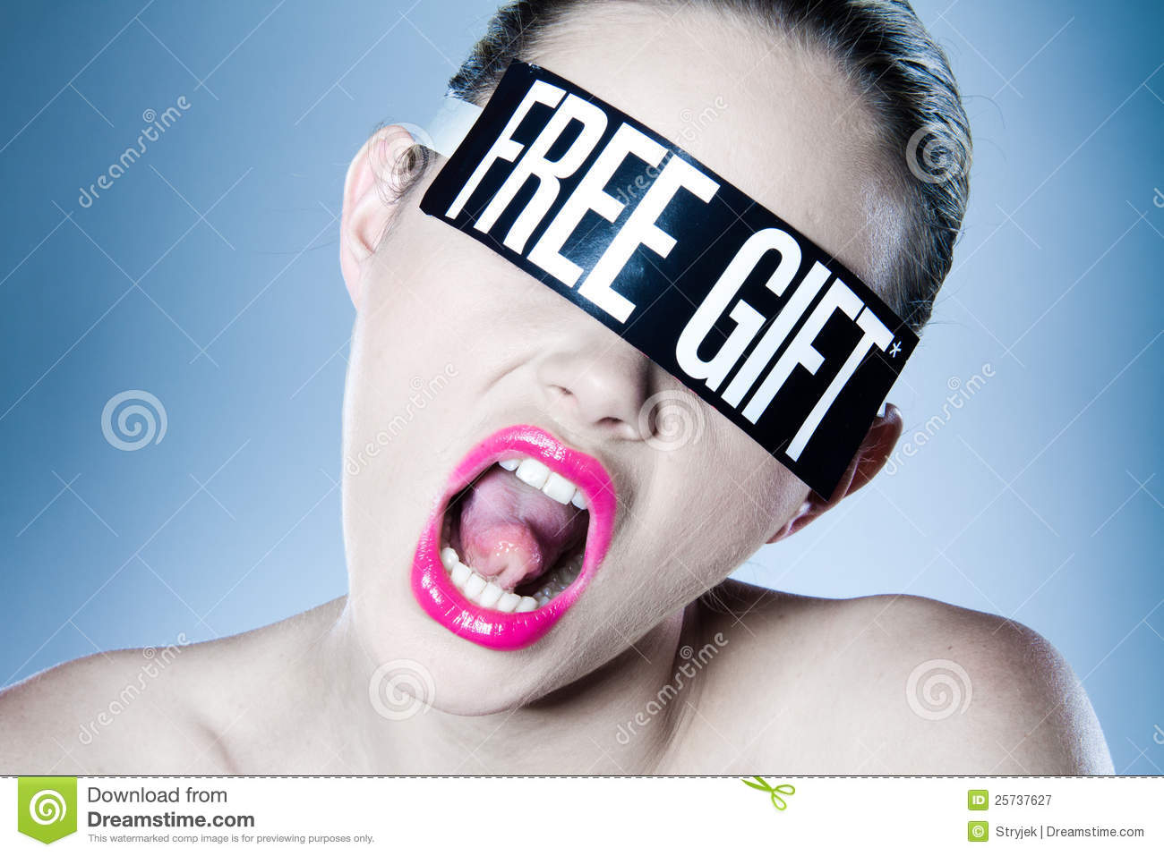 Woman with free gift offer