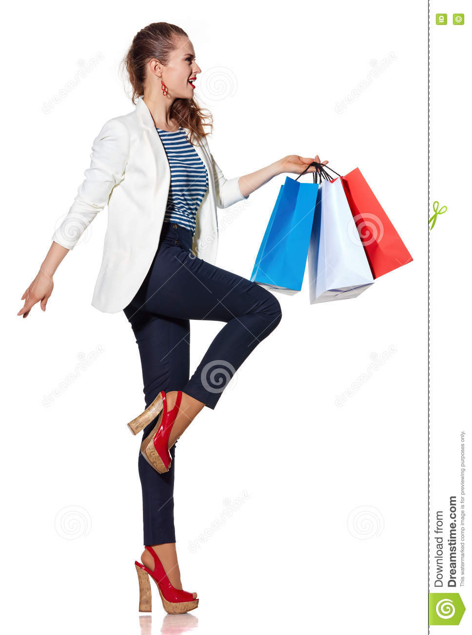 Woman posing with shopping bags isolated on white background full - Background Bags Colours Flag French Length Portrait Shopping White Woman