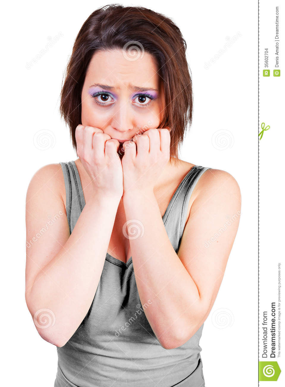 Woman is frightened stock photo. Image of background ...