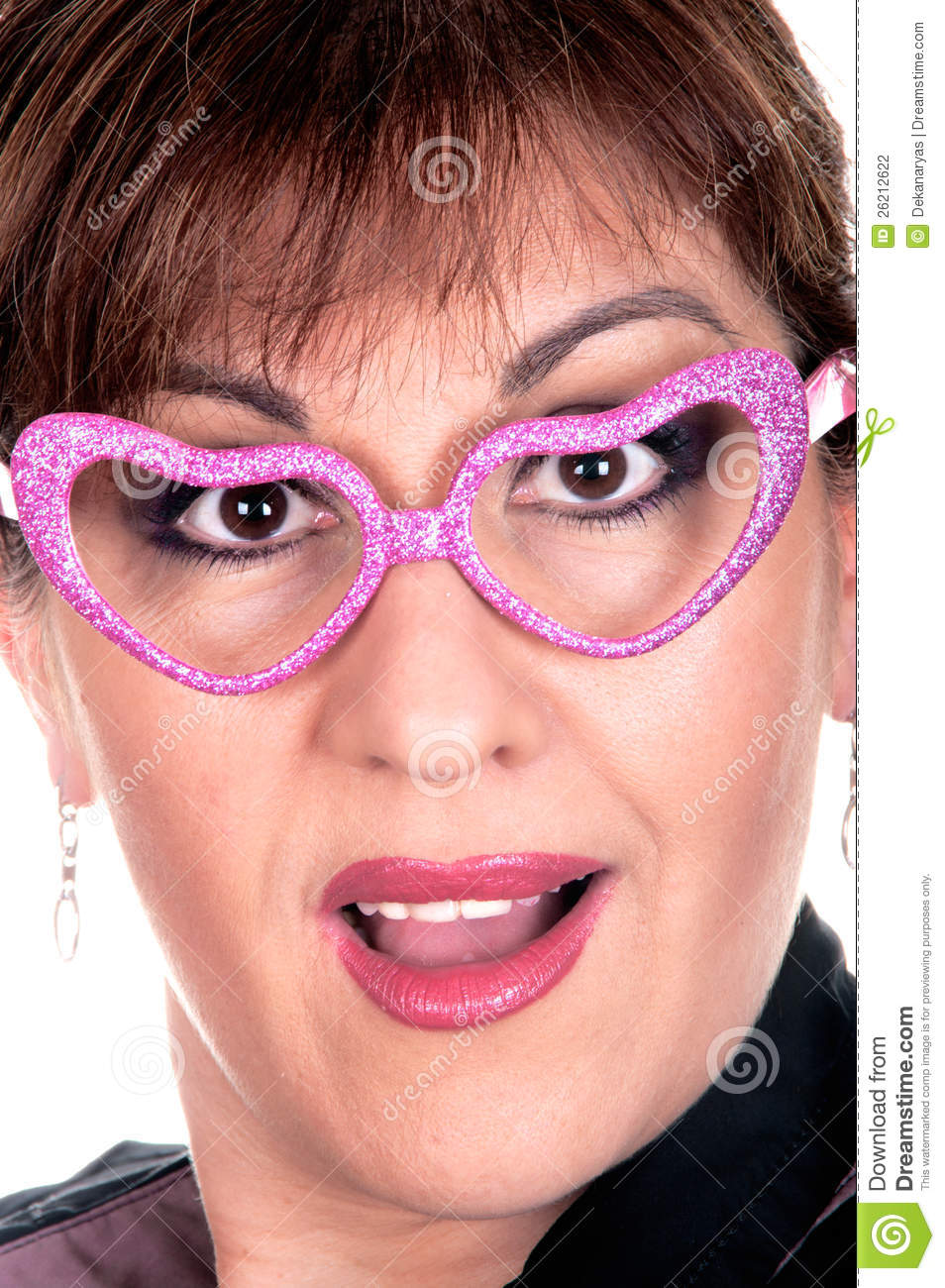 Woman In Funny Pink Glasses Stock Photo - Image of adult ... - photo#31
