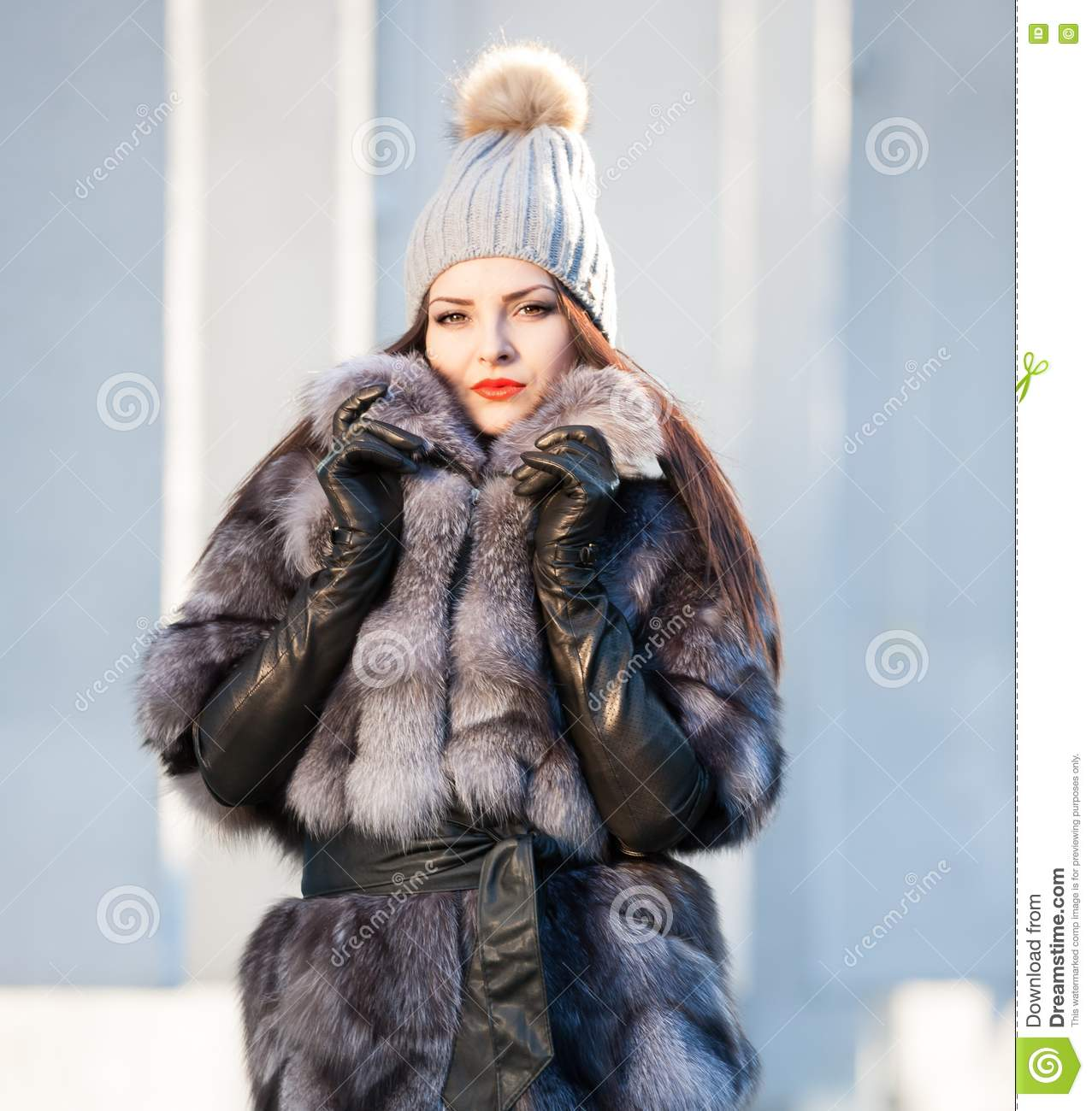 Black leather gloves with fur - Woman Fur Coat And Black Leather Gloves