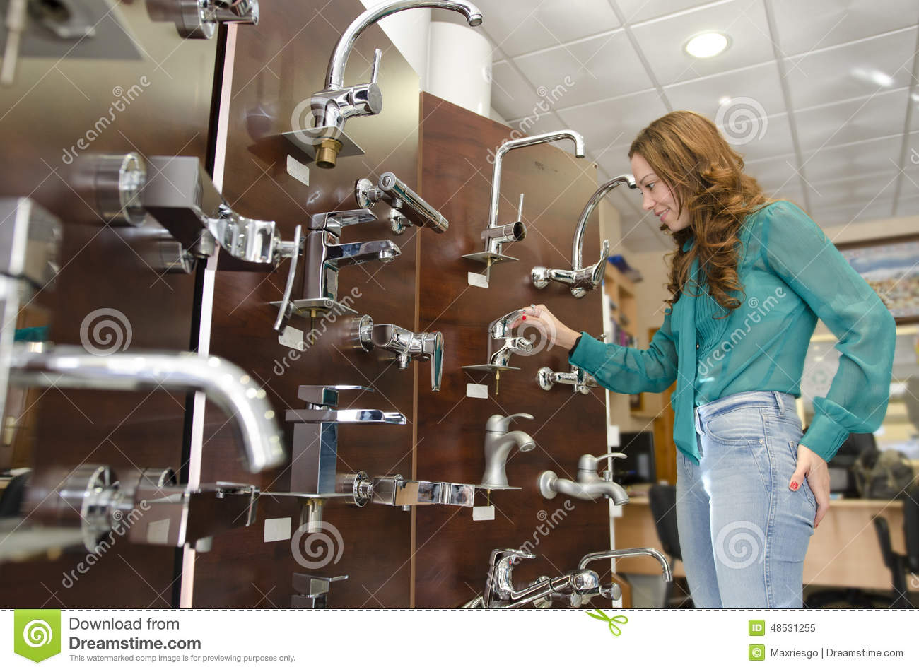 Woman At Furniture And Faucet Store Stock Image - Image of business ...