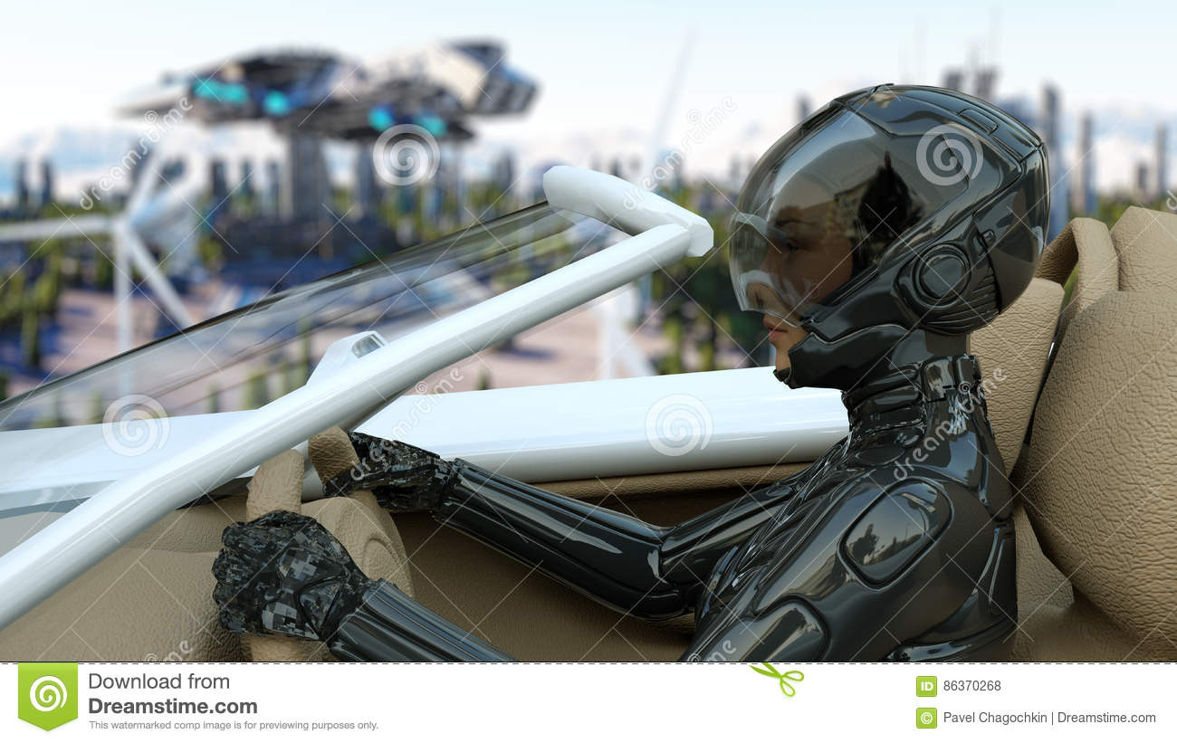 Woman in futuristic car flying over the city, town. Transport of the future. Aerial view. 3d rendering.